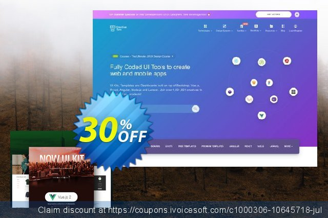 Vue Now UI Kit PRO discount 30% OFF, 2019 Back to School shopping discounts