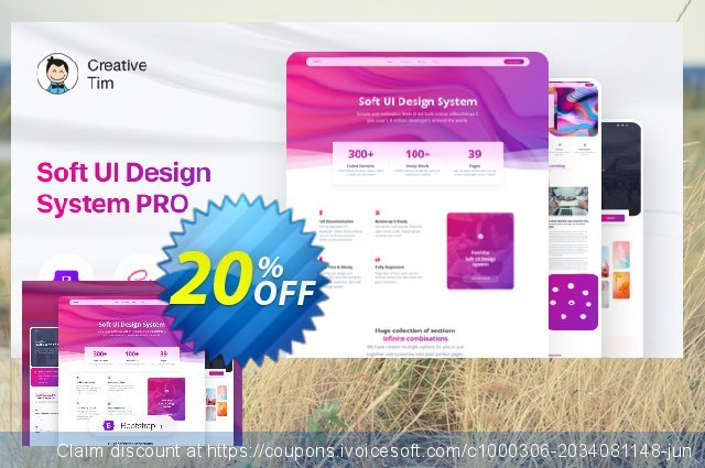 Soft UI Design System PRO Company Annual discount 20% OFF, 2021 Valentine's Day offering sales