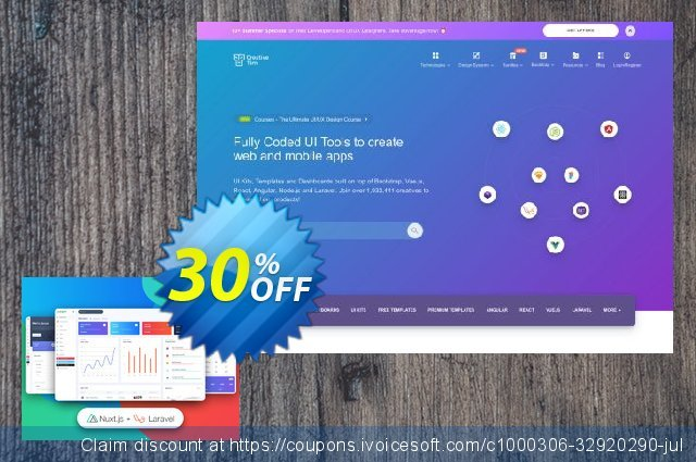 Nuxt Argon Dashboard PRO Laravel discount 30% OFF, 2021 New Year's Day promo