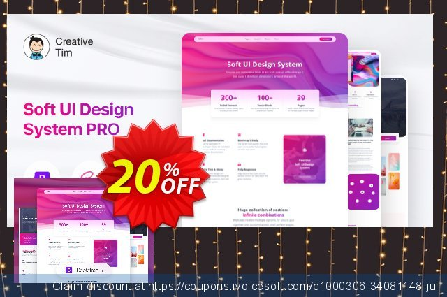 Get newest Soft UI Design System PRO discount from Creative Tim Now: