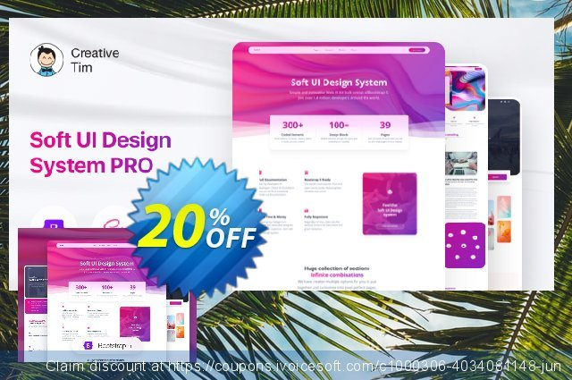 Soft UI Design System PRO Freelancer Lifetime discount 20% OFF, 2021 Women Day offering sales
