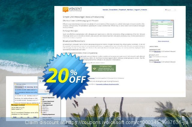 Winsent Messenger (Single user license) discount 20% OFF, 2021 Working Day offering sales. Winsent Messenger (Single user license) best sales code 2021