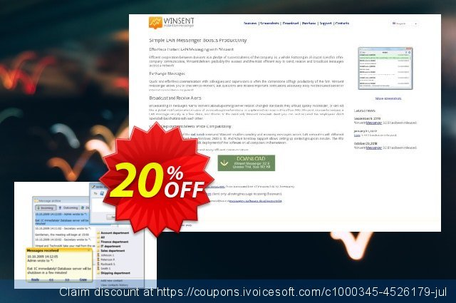 Winsent Messenger (Unlimited site license) discount 20% OFF, 2020 New Year's Day promotions