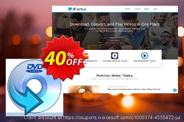 iFunia DVD Ripper for Mac discount 40% OFF, 2021 Happy New Year offering sales
