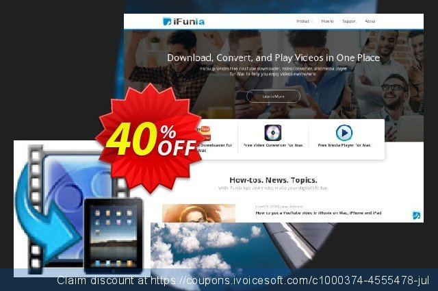 iFunia iPad Video Converter for Mac discount 40% OFF, 2020 Thanksgiving promo