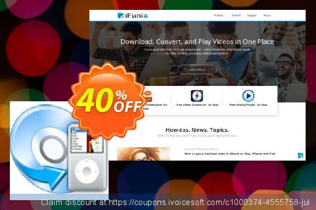 iFunia DVD to iPod Converter discount 40% OFF, 2021 New Year's Day offering sales