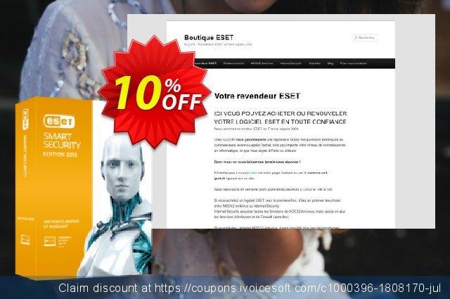 ESET Smart Security - Réabonnement 1 an pour 3 ordinateurs discount 10% OFF, 2020 New Year offer