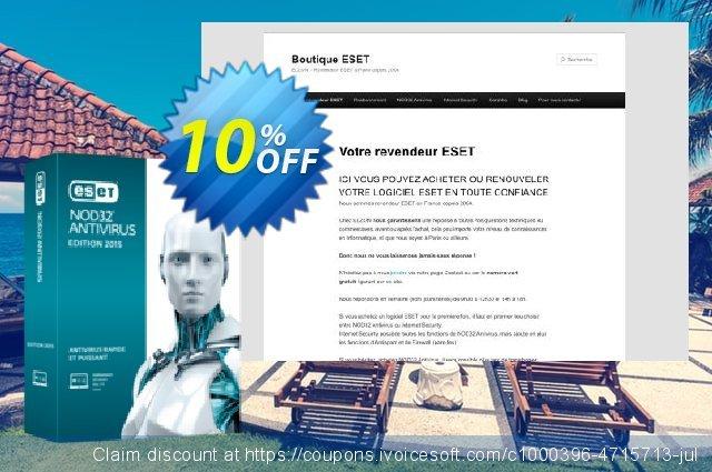 NOD32 Antivirus - Réabonnement 2 ans pour 5 ordinateurs discount 10% OFF, 2020 Back to School shopping offer