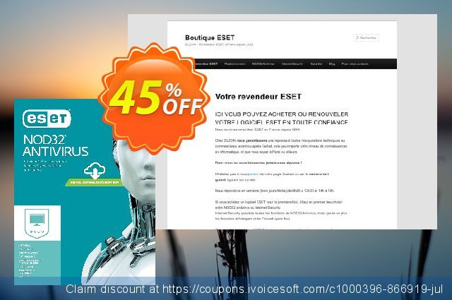 NOD32 Antivirus - Nouvelle licence 2 ans pour 1 ordinateur discount 10% OFF, 2019 Year-End offering sales