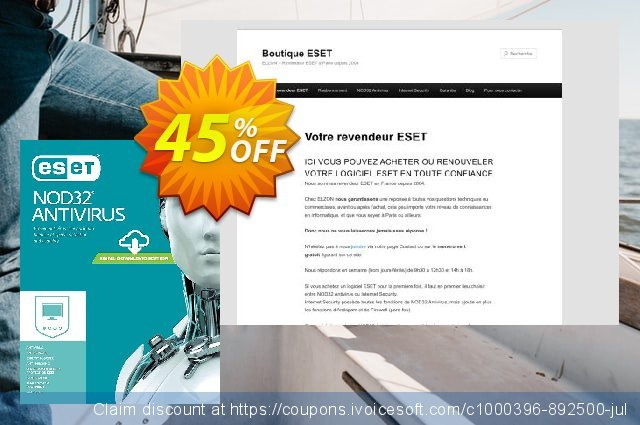 NOD32 Antivirus - Nouvelle licence 1 an pour 2 ordinateurs discount 10% OFF, 2020 Back to School offer offering sales