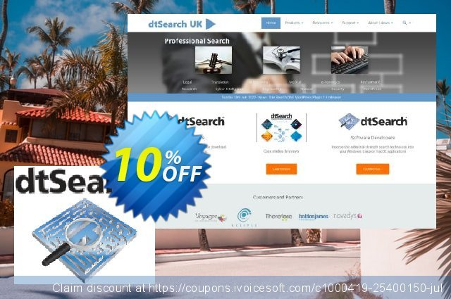 dtSearch Web with Spider (single-server license) discount 10% OFF, 2020 American Independence Day sales