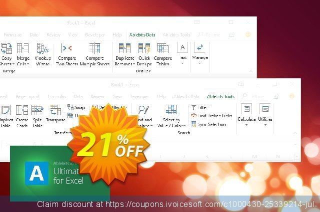 AbleBits Ultimate Suite for Excel discount 21% OFF, 2021 All Saints' Eve offering sales. AbleBits.com Ultimate Suite 2021 for Excel, Personal Edition impressive promo code 2021