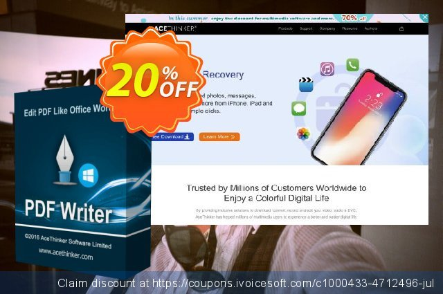 Acethinker PDF Writer discount 20% OFF, 2020 Halloween deals