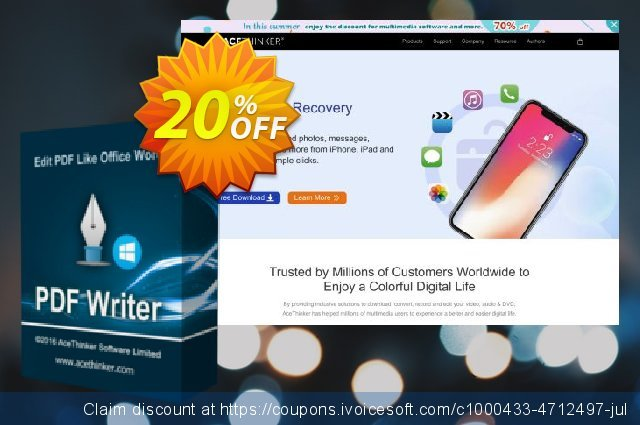 Acethinker PDF Writer lifetime discount 20% OFF, 2020 Teacher deals deals