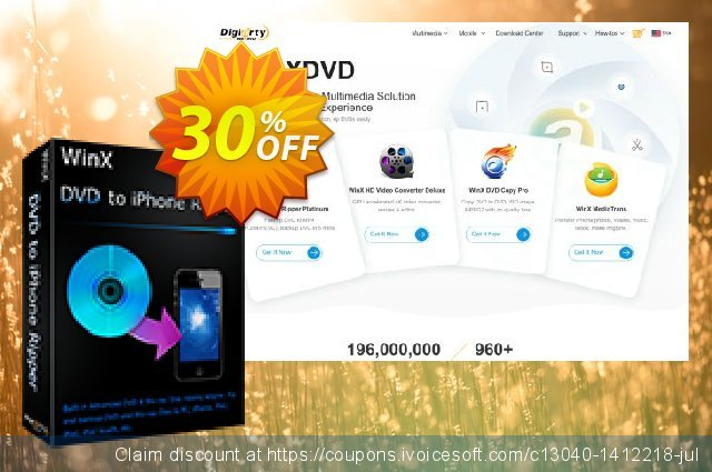 WinX DVD to iPhone Ripper discount 30% OFF, 2019 Thanksgiving Day offering sales