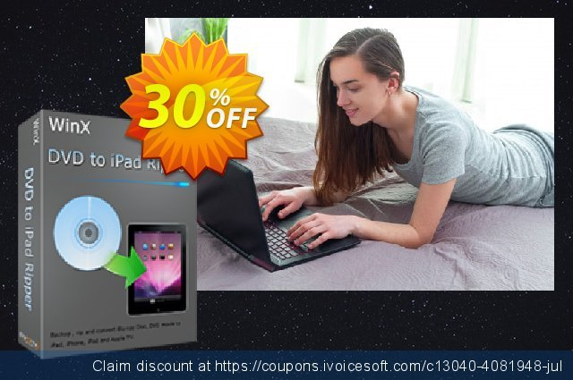 WinX DVD to iPad Ripper discount 30% OFF, 2020 Back to School season promo