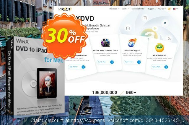 WinX DVD to iPad Ripper for Mac discount 30% OFF, 2019 Thanksgiving promo sales