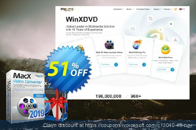 MacX Video Converter Pro Lifetime discount 51% OFF, 2019 Xmas Day offering sales
