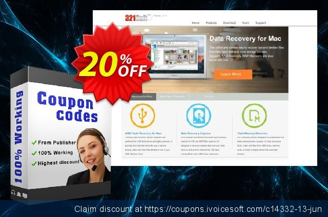 321Soft iPhone Data Recovery for Mac discount 20% OFF, 2019 Father's Day offering sales