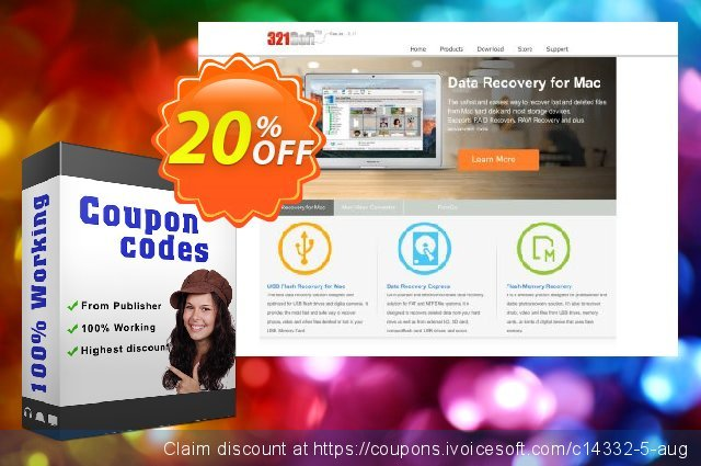 321Soft Data Recovery for Mac discount 20% OFF, 2020 Back to School season offering sales