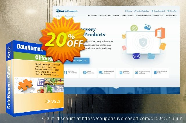DataNumen Office Repair discount 20% OFF, 2019 April Fools' Day offering sales