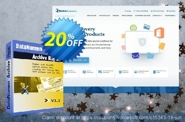DataNumen Archive Repair discount 20% OFF, 2019 Back-to-School promotions discounts