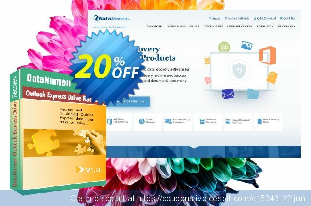 DataNumen Outlook Express Drive Recovery discount 20% OFF, 2019 April Fools' Day discounts