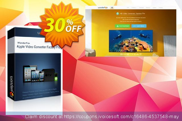 Apple Video Converter Factory Pro discount 30% OFF, 2019 University Student offer promotions