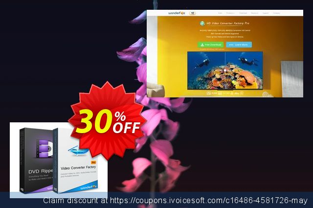 Video Converter Factory Pro (+ Free Get WonderFox DVD Ripper Pro) discount 30% OFF, 2019 Back to School coupons offer