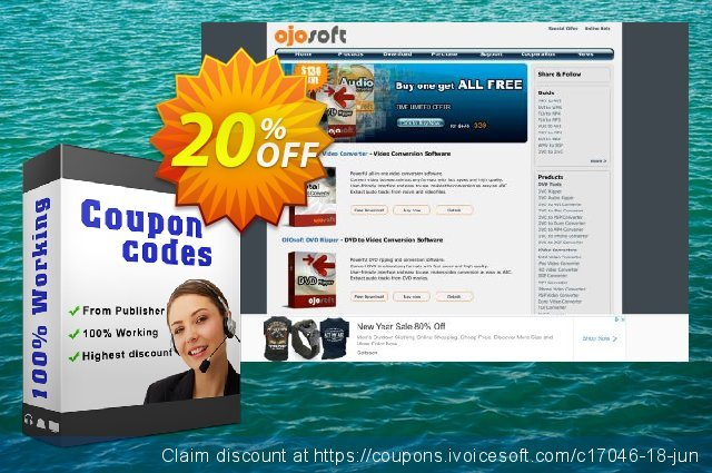 OJOsoft MP4 to MP3 Converter discount 20% OFF, 2020 Working Day discounts