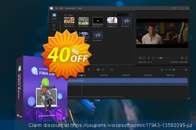 ApowerEdit Family License (Lifetime) discount 40% OFF, 2021 New Year's Weekend offering discount