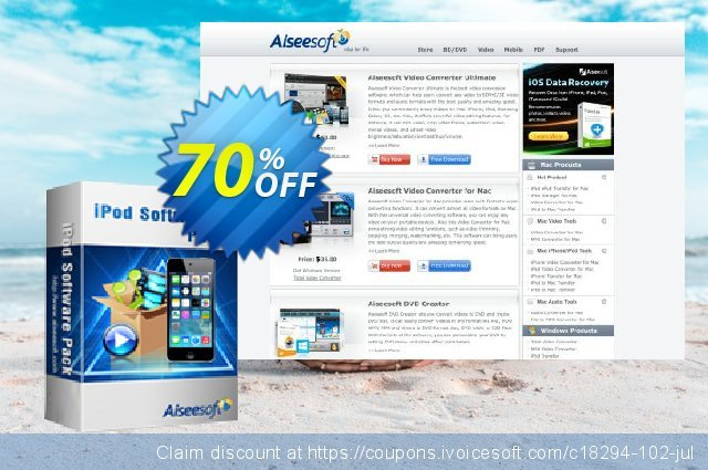 Aiseesoft iPod Software Pack discount 70% OFF, 2021 New Year promo