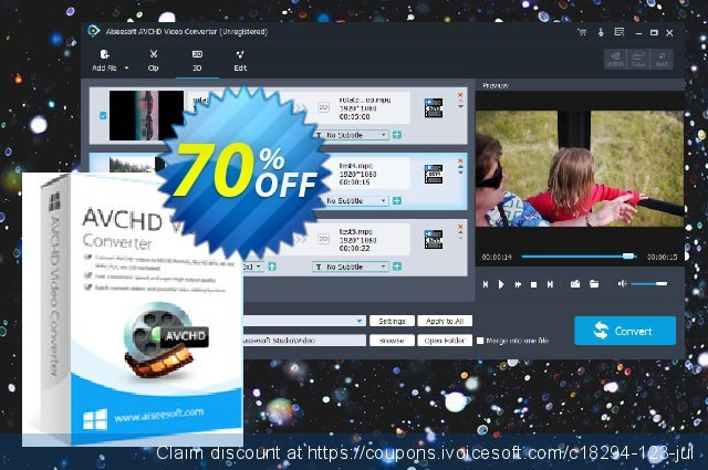 Aiseesoft AVCHD Video Converter discount 70% OFF, 2021  Lover's Day offering sales