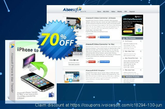 Aiseesoft iPhone to Mac Transfer discount 70% OFF, 2020 Summer discount