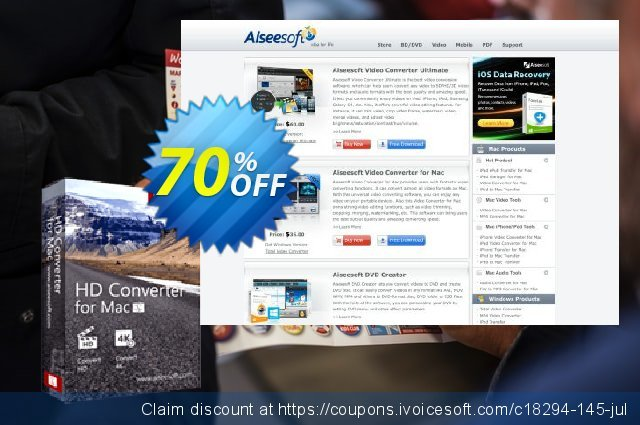 Aiseesoft HD Converter for Mac discount 40% OFF, 2019 New Year offering sales