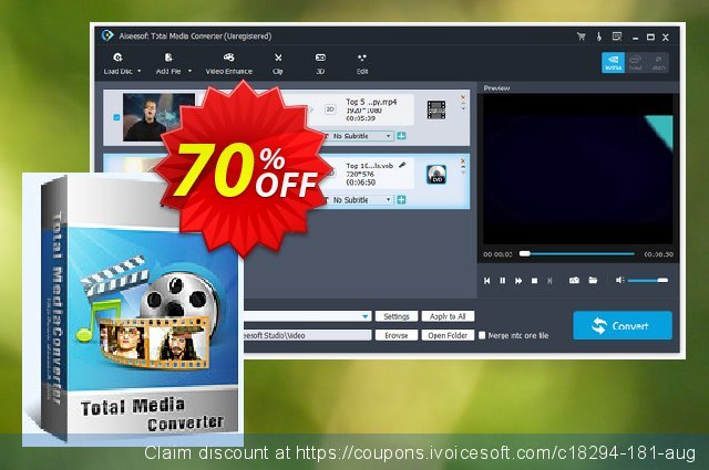 Aiseesoft Total Media Converter discount 70% OFF, 2021 Happy New Year offering sales