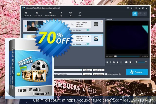Aiseesoft Total Media Converter discount 40% OFF, 2019 New Year's Day offering sales