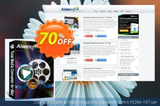 Aiseesoft Total Media Converter for Mac discount 40% OFF, 2019 New Year offering sales