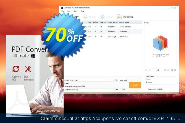 Aiseesoft PDF Converter Ultimate discount 50% OFF, 2019 Student deals offering sales