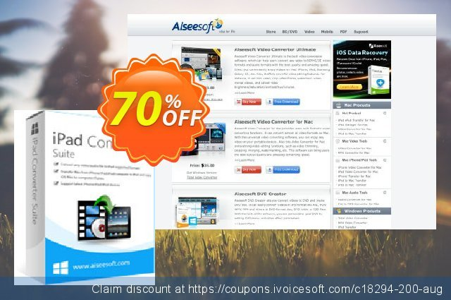 Aiseesoft iPad Converter Suite discount 70% OFF, 2020 Working Day offering sales