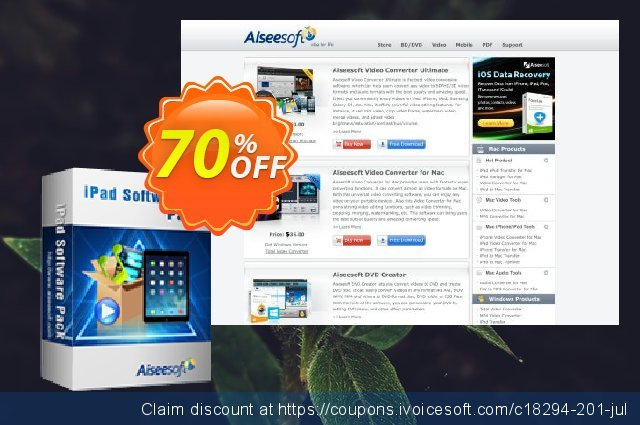 Aiseesoft iPad Software Pack discount 40% OFF, 2019 Father's Day discounts