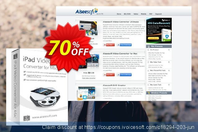 Aiseesoft iPad Video Converter for Mac discount 40% OFF, 2019 Daylight Saving offering sales