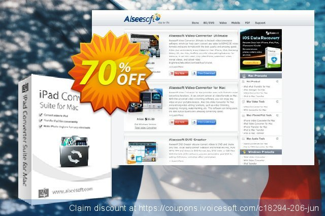 Aiseesoft iPad Converter Suite for Mac discount 40% OFF, 2019 New Year's Weekend offering sales