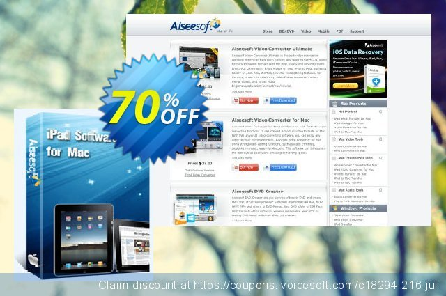 Aiseesoft iPad Software Pack for Mac discount 70% OFF, 2020 Working Day offering sales