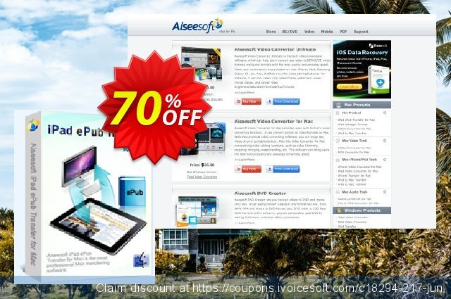 Aiseesoft iPad ePub Transfer for Mac discount 40% OFF, 2019 Father's Day offering sales