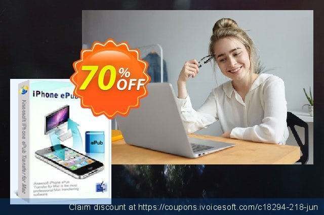 Aiseesoft iPhone ePub Transfer for Mac discount 40% OFF, 2019 January offering sales