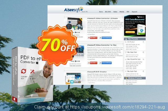 Aiseesoft PDF to ePub Converter discount 40% OFF, 2019 College Student deals offer