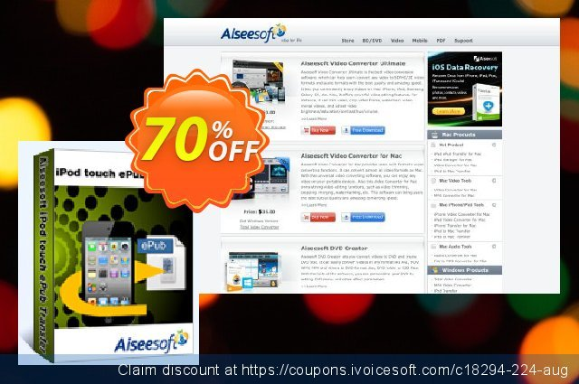 Aiseesoft iPod touch ePub Transfer discount 40% OFF, 2019 Happy New Year offering sales