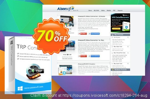 Aiseesoft TRP Converter discount 70% OFF, 2021 New Year's Day promotions