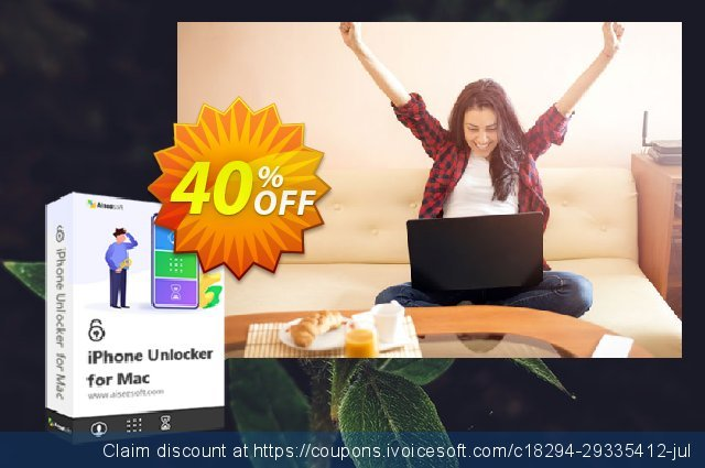 Aiseesoft iPhone Unlocker for Mac discount 40% OFF, 2020 Back to School event offering sales